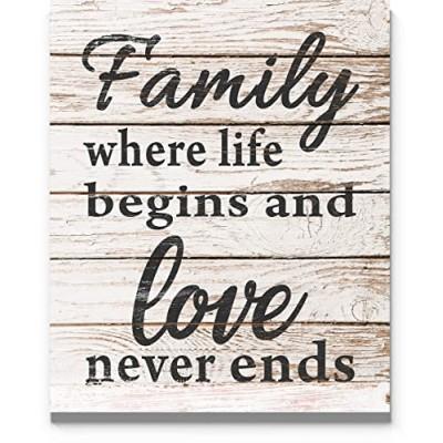 Decoratiune perete de agatat cu mesaj Family where life begins and love never ends