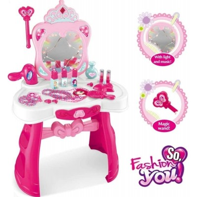 Masuta machiaj de jucarie cu scaunel si accesorii
