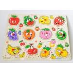 Puzzle din lemn cu manere Fructe