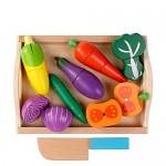 Set de taiat legume cu cutie din lemn