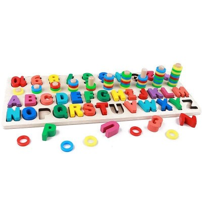Joc educativ din lemn Alfabet si Numere