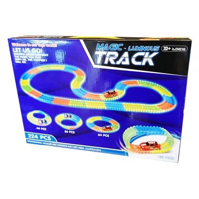 Pista flexibila luminoasa cu masinute Magic Tracks 224 piese
